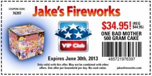 Get Jakes Fireworks One Bad Mother 500 gram cake for $34.95.  Normally $44.95.  Expires June 30th.