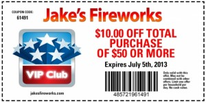 Jakes Fireworks $10 off of $50