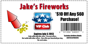 $10 off of $60 at Jakes Fireworks
